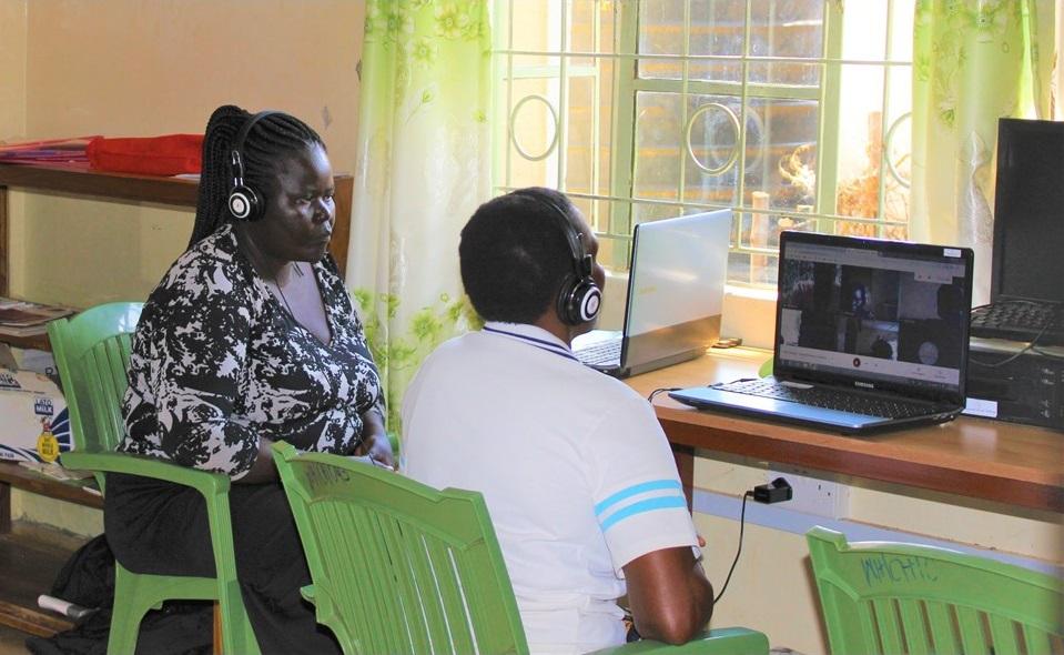 Women participating in an online class